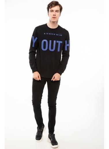 DeFacto Slogan Baskılı Sweatshirt Siyah